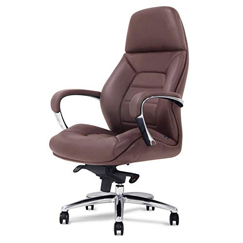 (Gates Genuine Leather Aluminum Base High Back Executive Chair - Dark)