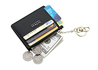 Small Wallets for Women, Slim Pocket Wallet Lady Mini Purse Leather Card Case Short Wallet with Keychain (A-Black)