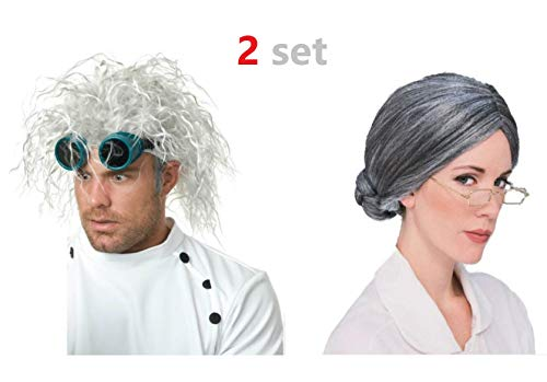 2 Set Costume Wig Old Lady Gray Wigs