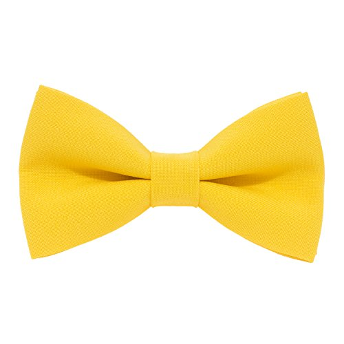 Classic Pre-Tied Bow Tie Formal Solid Tuxedo, by Bow Tie House (Medium, Yellow) (Yellow Silk Bow Tie)