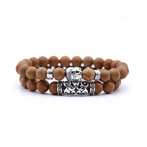 NDJqer 2Pcs Set Black Lava Stone Prayer Beads Buddha Men Bead Bracelet Beaded Bracelets for Women Mens,Light Yellow Color