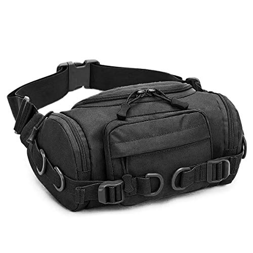 CamGo Tactical Fanny Pack Portable Military Waist Bum Bag for Outdoor Sports Daily Use (Black)