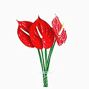 "Leoyoubei 4 PCS 28"" artificial Anthurium Lily flowers for home decor Bouquet and Green Leaf for Home Decoration Bridal Wedding Festival decoration small flower Red 11"