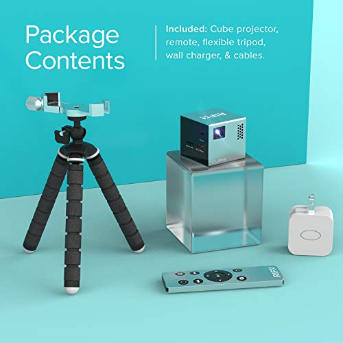 RIF6 CUBE Full LED Mini Projector - 1080p Supported Portable Projector with Built-In Speakers, HDMI Input for Smartphone, Laptop, Gaming and Home Movie Theater - Includes Tripod and Remote