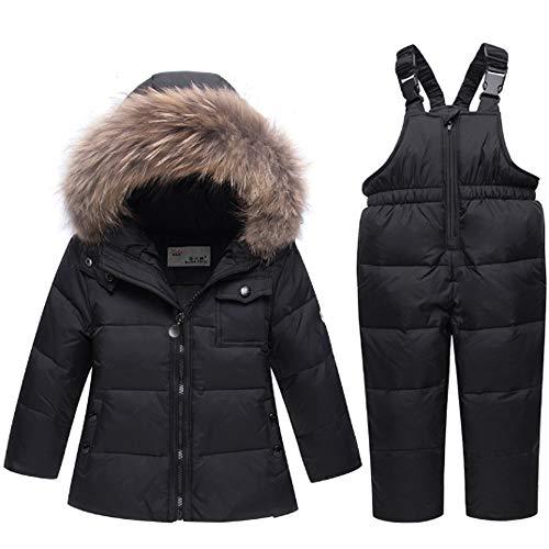 Ding Dong Baby Tollder Kid Boy Girl Winter Hooded Fur Down Parka Puffer Jacket+Snow Pants 2-Piece Snowsuit Skisuit Set