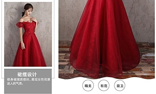 Generic Korean toast clothing red wedding dress banquet presided over strapless evening dress sexy long Dress Costume for women girl by Generic (Image #7)
