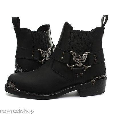 Combat Low Pelle Stivali Eagle Pelle Cowboy Vera Moto Grinders 4aqSHwYY