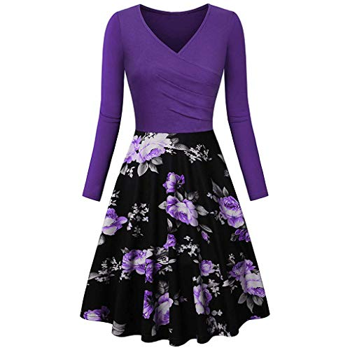 TIFENNY Women's Vintage Casual Dresses Fashion Long Sleeve V-Neck Print Evening Party Prom Swing Dress Tops Purple