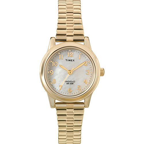 Timex Women's T2M827 Essex Avenue Gold-Tone Stainless Steel Expansion Band Watch (Womens Large Faced Watches)