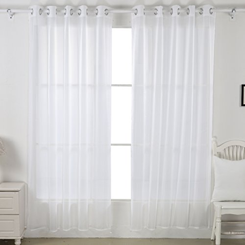Deconovo Home Decorations Sheer White Curtains Grommet Curtains Voile Curtains Delicate Sheer Curtains for Living Room 52W x 84L Inch White 1 Pair