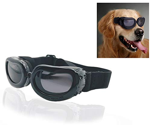 SUCCESS Dog Goggles Small, Dog Sunglasses UV Protection, Foldable and Adjustable Pet Sunglasses for...