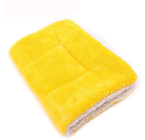 CoCocina Colorful Warm Dog Cat Blankets Pet Sleep Mat Pad Bed Cover Soft Flannel Blanket for Kitties Puppies and Other Small Animals-Yellow-S