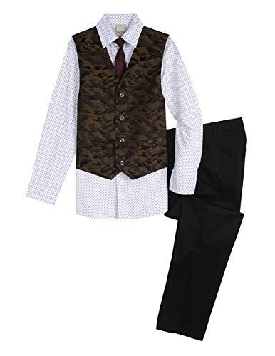 - Kenneth Cole Boys' 4-Piece Dresswear Vest Set, Mushroom, 14