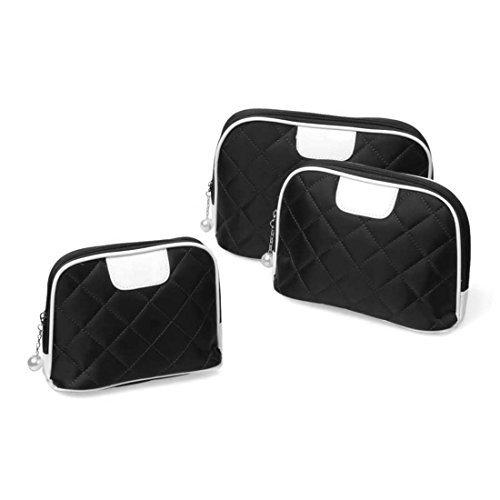 bmc-3-pc-midnight-black-diamond-quilted-nylon-makeup-organizer-travel-case-cosmetic-bag-set