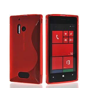 HKCFCASE Carcasa de TPU Gel Caso Funda silicona Case Para Nokia Lumia 928 Rojo