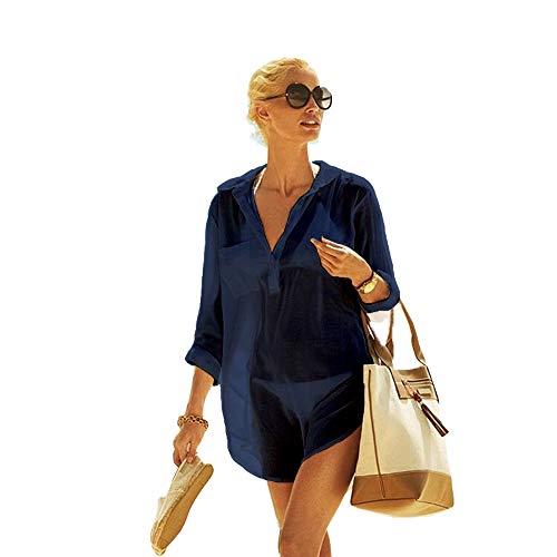 Women's Cotton Beachwear Bikini Swimwear Beach Club V-Neck Sexy Perspective Lace Cover Up Skirt Bathing Suit(CP-CT) (XXL, Navy)]()