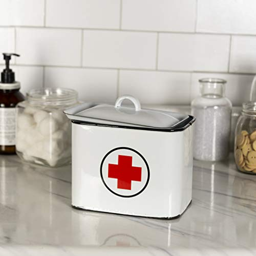 - VIPSSCI White Enamel First Aid Box with Lid Vintage Inspired Metal Enamelware First Aid Storage Container