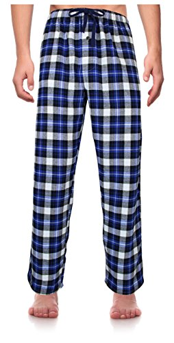 RK Classical Sleepwear Men's 100% Cotton Flannel Pajama Pants,Blue / Gray, Plaid (F0152),Large Tall (Mens Tall Bottoms)