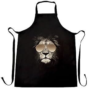 Lion Wearing Aviator Sunglasses Photo Image Designer Apron Cook Black One Size