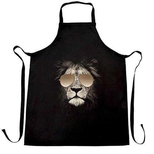 Stylish Animal Chefs Apron Lion Wearing Aviator Sunglasses Black One Size