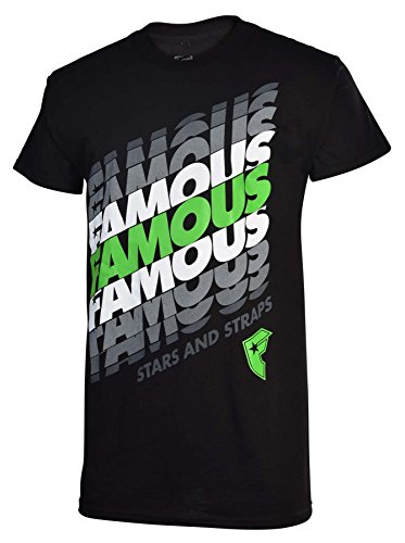 Famous Stars and Straps Mens Repeat Famous T-Shirt-Black/Green-2XL