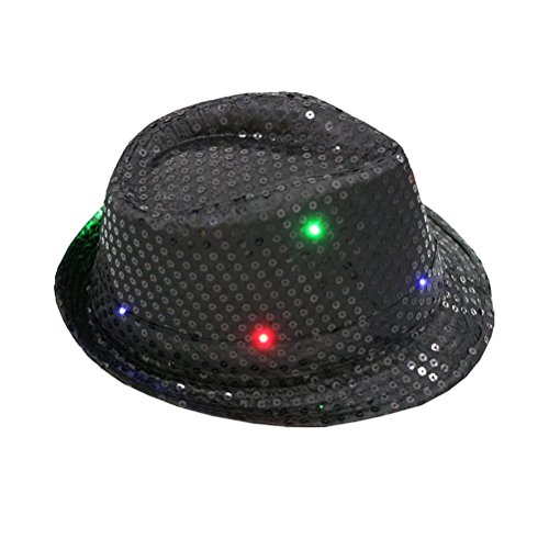 Fedora Hat Jazz Hat Cap Dance Hat Glitter Sequins Flashing LED Hat For Party Hat Dress Up Costume accessories (Glitter Fedora Hats)