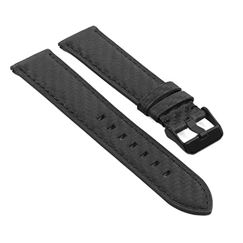 e Carbon Fiber Finish Leather Watch Strap Band w/ Matte Black Buckle 20mm 22mm ()