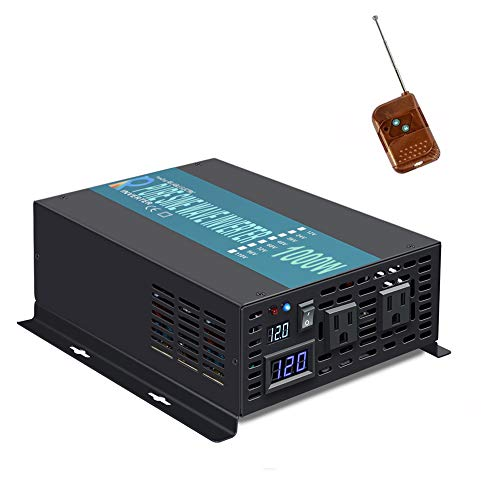 WZRELB 1000W Pure Sine Wave Solar Power Inverter 12V to 120V 60Hz Power Converter LED Display DC to AC Power Generator with 100ft Wireless Remote Controller Switch