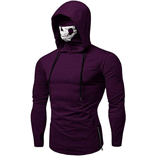 Mens Mask Hooded Sweatshirt Skull Pattern Long Sleeve Training Pullover Costum (2XL, -