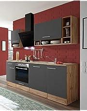 respekta Aneks kuchenny kuchnia blok kuchenny kuchnia do zabudowy kuchnia kompletna 220 cm dąb szary z urządzeniami