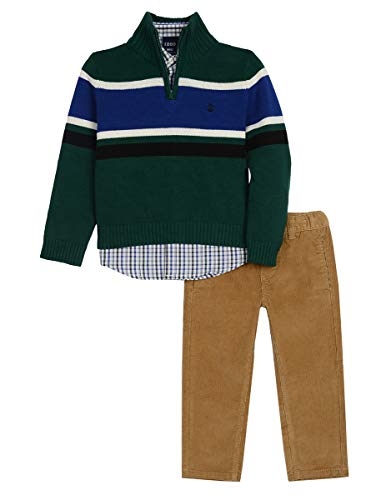 Izod boys 3-Piece Sweater, Dress Shirt, and Pants Set, Dark Green, Large(6) (Shirt Vest 3 Sweater Piece)