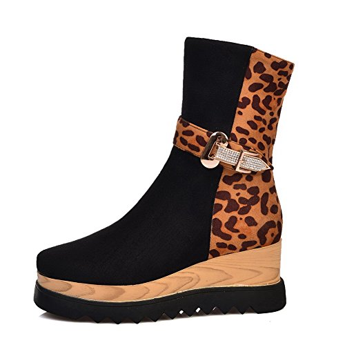 Platform Black Kitten with and Heels Women's PU Frosted Allhqfashion Boots x6n8wf1fqR