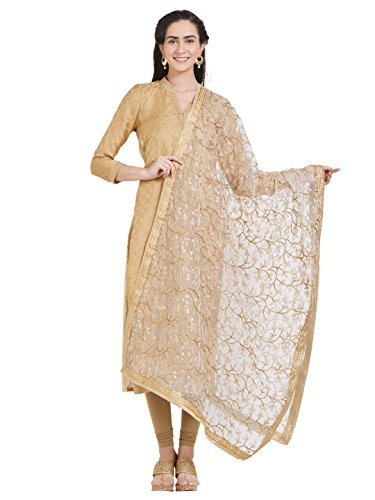 Dupatta Bazaar Woman's White & Gold Embroidered Net Dupatta (Best Fabric For Dupatta)