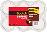 "Scotch Commercial Grade Shipping Packaging Tape, 6 Rolls, Excellent Holding Power, 3"" Core, 1.88 in x 54."