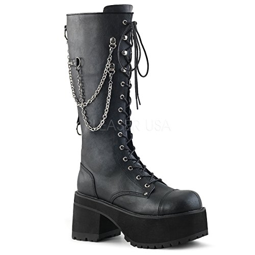 Demonia Ranger-303 Knee High Boot, Black Faux Leather, 6 M US Demonias Knee Boots
