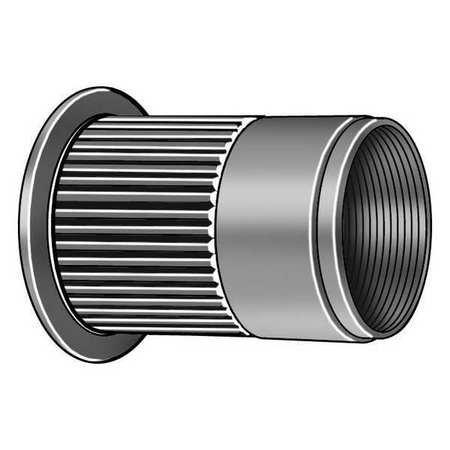 1/4''-20, 0.027'' to 0.165'', Zinc Steel Ribbed Rivet Nut, 1000 pk.