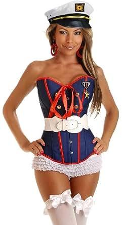 Amazon.com: Daisy Corsets 4 PC Sexy Marine Corset Costume