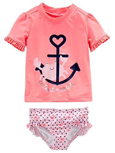 (Simple Joys by Carter's Baby Girls' Toddler 2-Piece Rashguard Set, Pink/Navy Stripe, 3T)