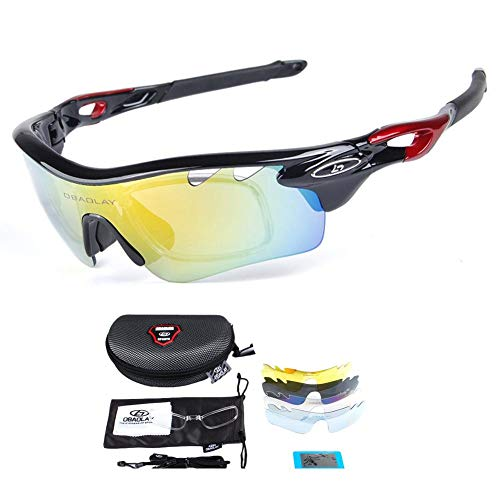 6ad060a3d1 OBAOLAY Cycling Glasses Polarized Sports Sunglasses UV400 with 5  Interchangeable Lenes for Cycling Running Driving Unisex