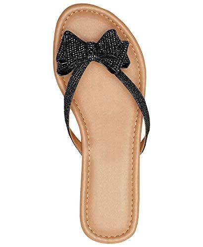 Coutgo Womens Slip On Glitter Flip Flops Bow Tie Flat Thong Summer Beach Sandals - Bow Womens Front Dress
