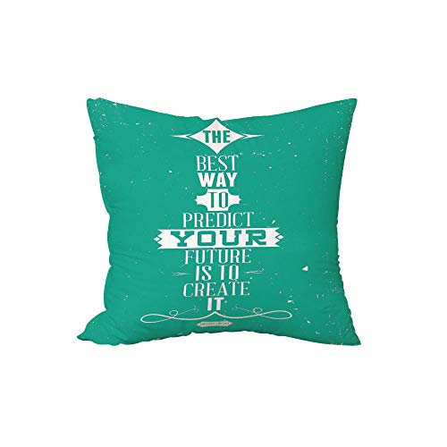 iPrint Polyester Throw Pillow Cushion,Quote,The Best Way to Predict Your Future is to Create It Calligraphy Motivational Quote,Turquoise,17.7x17.7Inches,for Sofa Bedroom Car Decorate -