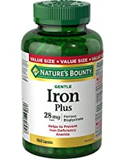 Nature's Bounty Gentle Iron Plus Pills, Supplement, Helps Prevent Iron Deficiency Anemia, 28 Mg, 150 Capsules