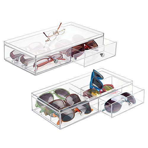 mDesign Wide Stackable Plastic Eye Glass Storage Organizer Box Holder for Sunglasses, Reading Glasses, Accessories - 2 Divided Drawers, Chrome Pulls, 2 Pack - Clear ()