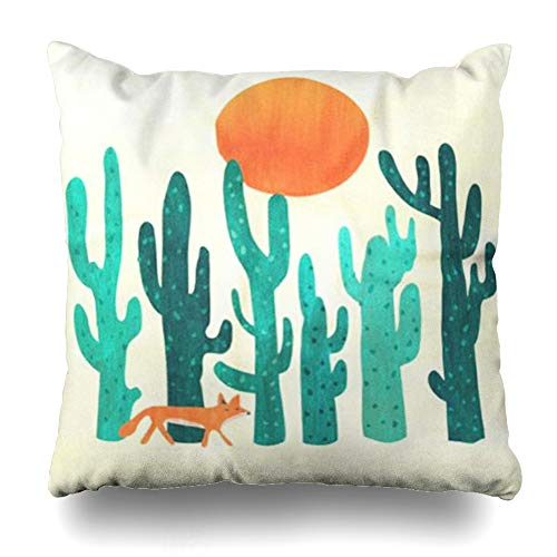 Ahawoso Throw Pillow Cover Square 18x18 Inches Desert Fox Decorative Pillow Case Home Decor Pillowcase