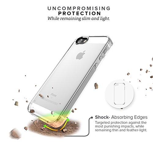 iPhone SE Case, fits iPhone 5s 5 SE (Clear) SaharaCase Protective Kit Bundled with [Tempered Glass Screen Protector] Slim Fit Rugged Protection Case Shockproof Bumper Hard Back (Clear) by Sahara Case (Image #3)