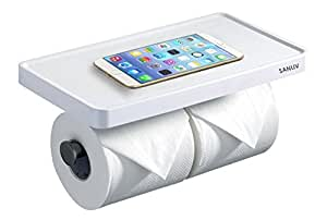 Sanliv Double Roll Toilet Paper Holder with Storage Shelf - White