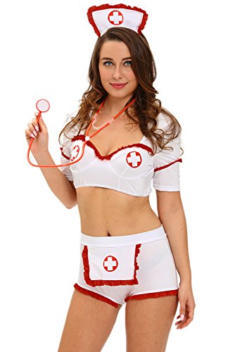 JE Womens Night Nurse Sexy Bedroom Cosplay Costume (Large, White01) (Soccer Player Costumes)