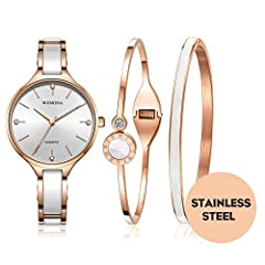 MAMONA Ladies Watch Bracelet Gift Set Crystal Accents Rose Gold Ceramic and Stainless Steel L3877RGGT