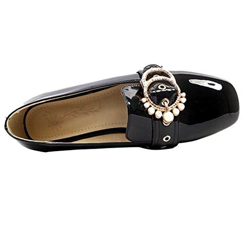 AIYOUMEI Damen Flache Pumps mit Schnalle und Perlen Lack Pumps Bequem Schuhe Schwarz