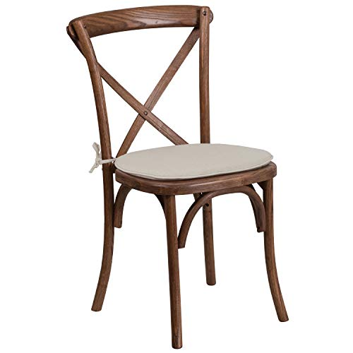 Flash Furniture HERCULES Series Stackable Pecan Wood Cross Back Chair with Cushion (Sale Chairs Back X For)
